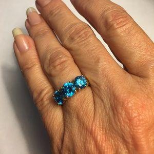 Jewelry - London Blue Topaz 3 Stone Ring S. Silver Sz 6.25